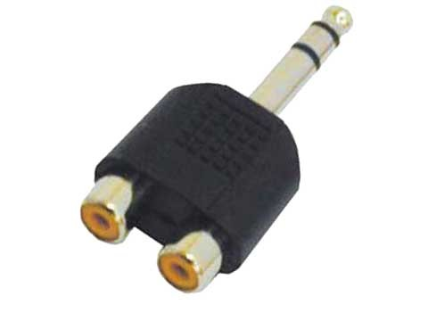 Y-Adapter - 2x RCA (Cinch) Buchse>Klinkenstecker 6,3m Stereo