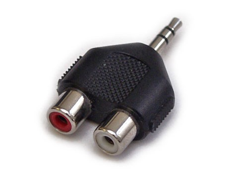 Y-Adapter - 2x RCA (Cinch) Buchse>Mini-Klinkenstecker Stereo